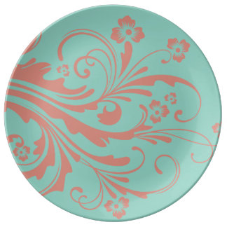 Whimsical Coral and Mint Chic floral Porcelain Plate