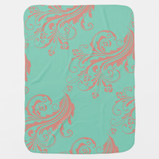 Whimsical Coral and Mint Chic floral Swaddle Blanket