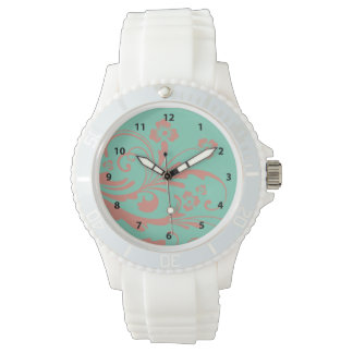 Whimsical Coral and Mint Chic floral Wristwatch