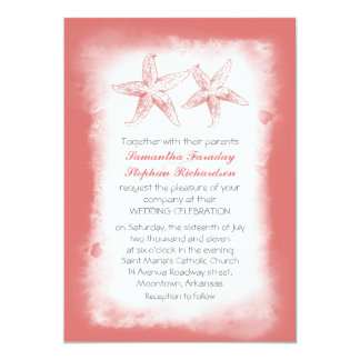 Whimsical coral beach wedding invitations