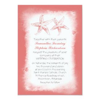 Whimsical coral beach wedding invitations