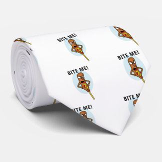 Whimsical Corn Dog with Mustard saying Bite Me Tie