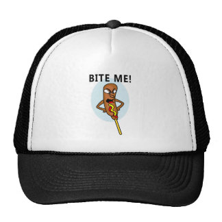 Whimsical Corn Dog with Mustard saying Bite Me Trucker Hat