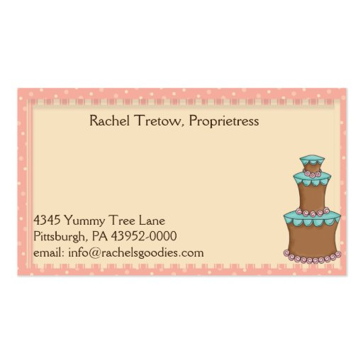Whimsical Country Baker Business- Profile Card Business Card Templates (back side)