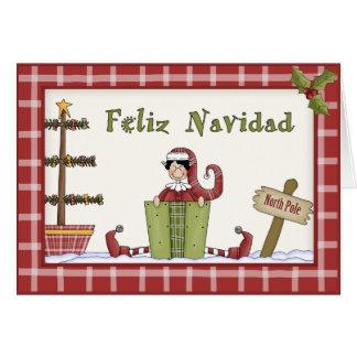 Whimsical Country Christmas Elf Spanish Language Card
