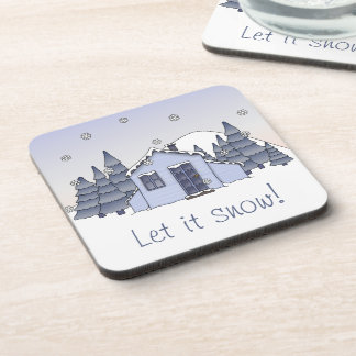 Whimsical Country Cottage Winter Scene in Blues Beverage Coaster