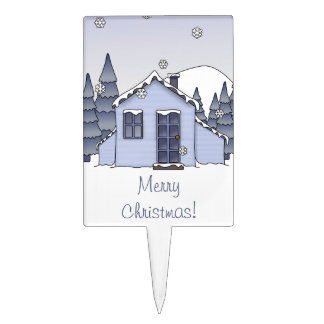 Whimsical Country Cottage Winter Scene in Blues Cake Topper
