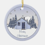 Whimsical Country Cottage Winter Scene in Blues Ceramic Ornament