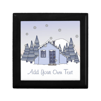 Whimsical Country Cottage Winter Scene in Blues Gift Box