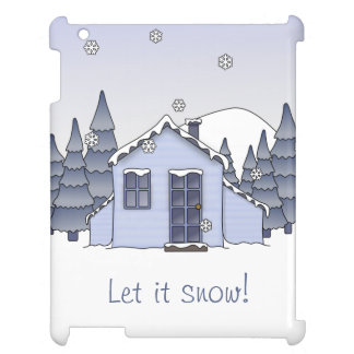 Whimsical Country Cottage Winter Scene in Blues iPad Case