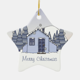 Whimsical Country Cottage Winter Scene in Blues Christmas Tree Ornament