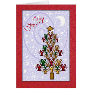 Whimsical Crawfish Lobster Christmas Tree Card
