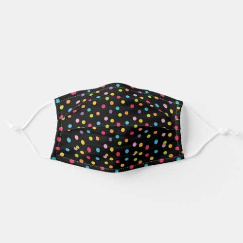Whimsical Crayon Polka Dots Black Pattern Cloth Face Mask