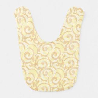 whimsical cream pattern baby bib