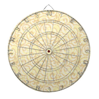 whimsical cream pattern dartboard with darts