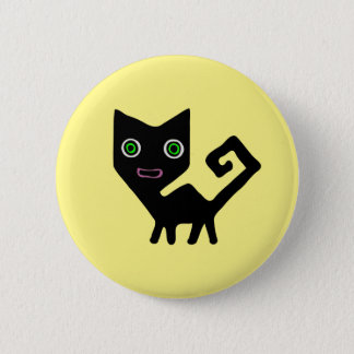 Whimsical Crooked Little Green Eyed Black Cats Button