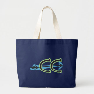 Whimsical Cross Country - CC Symbol - Colorful Large Tote Bag