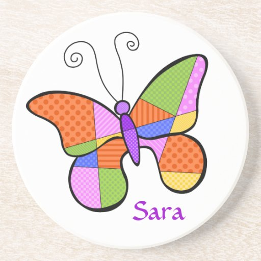 Whimsical Cubism Butterfly Coaster