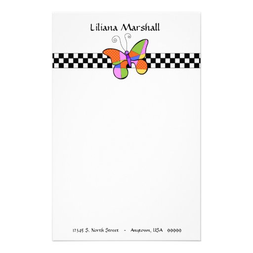 Whimsical Cubism Butterfly Stationery