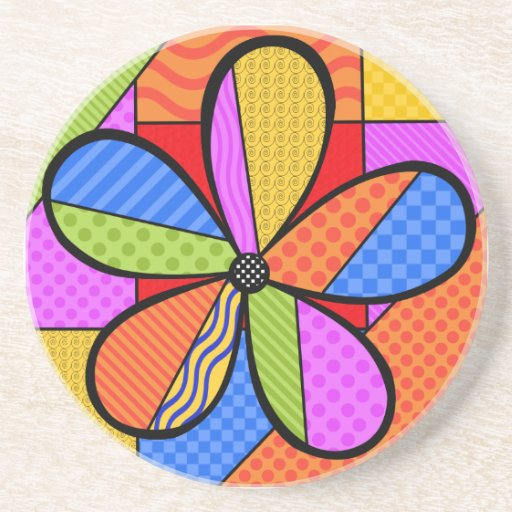 Whimsical Cubism Flower Coaster with Background