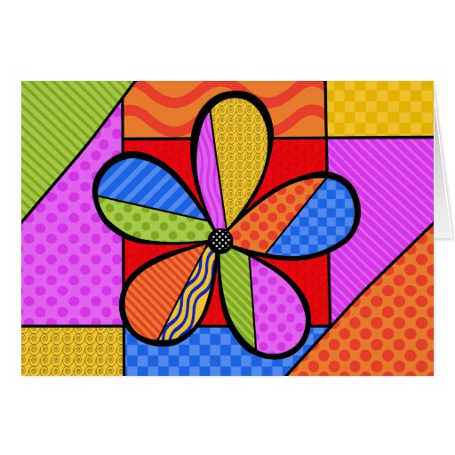 Whimsical Cubism Flower Note Card with Background