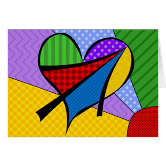 Whimsical Cubism Heart Note Card with Background