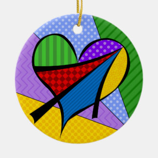 Whimsical Cubism Heart Ornament with Background