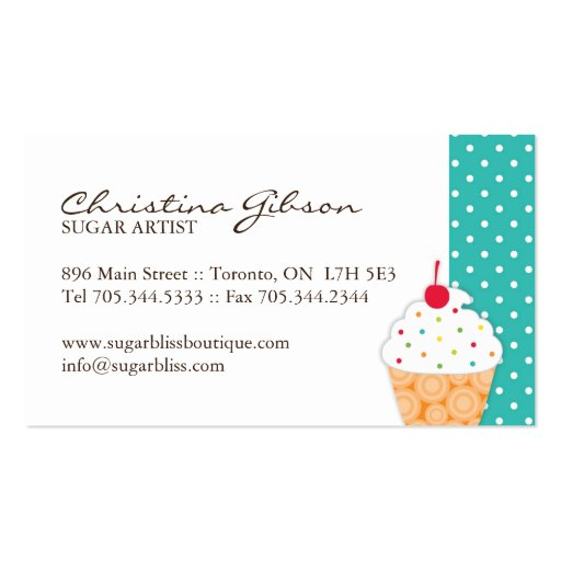Whimsical Cupcake Artist Business Cards (back side)