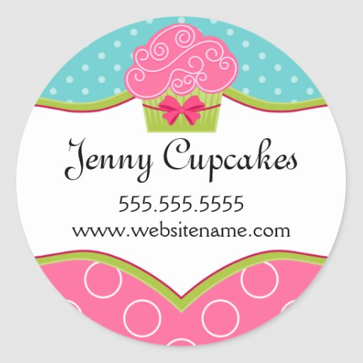 Whimsical Cupcake Bakery Stickers