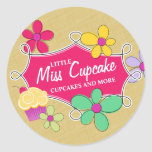 Whimsical Cupcake Floral and Doodle Frame Classic Round Sticker