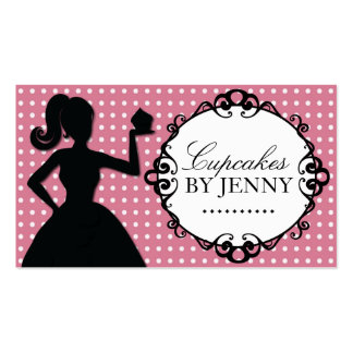 Whimsical Cupcake Silhouette Business Cards
