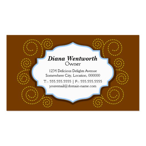 Whimsical Cupcake & Swirls Bakery Business Cards (back side)