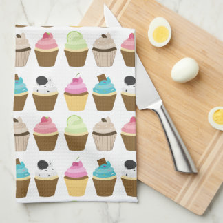 Whimsical Cupcakes Pattern Hand Towel