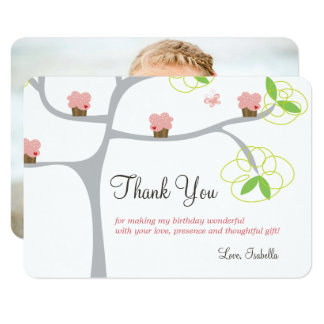 Whimsical Cupcakes Tree Birthday Thank You Card