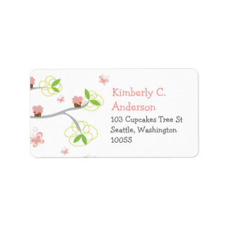 Whimsical Cupcakes Tree Butterflies Sweet Birthday Address Label