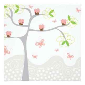 Whimsical Cupcakes Tree Butterflies Sweet Birthday Card