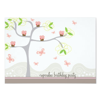 Whimsical Cupcakes Tree Butterflies Sweet Birthday Card