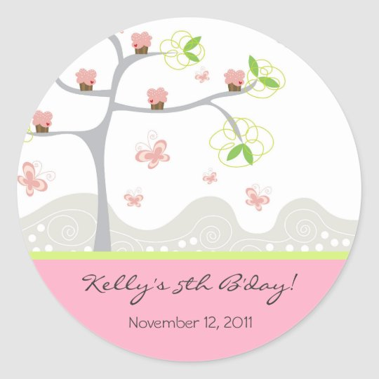 Whimsical Cupcakes Tree Butterflies Sweet Birthday Classic Round Sticker
