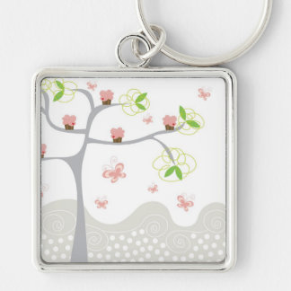 Whimsical Cupcakes Tree Butterflies Sweet Birthday Keychain