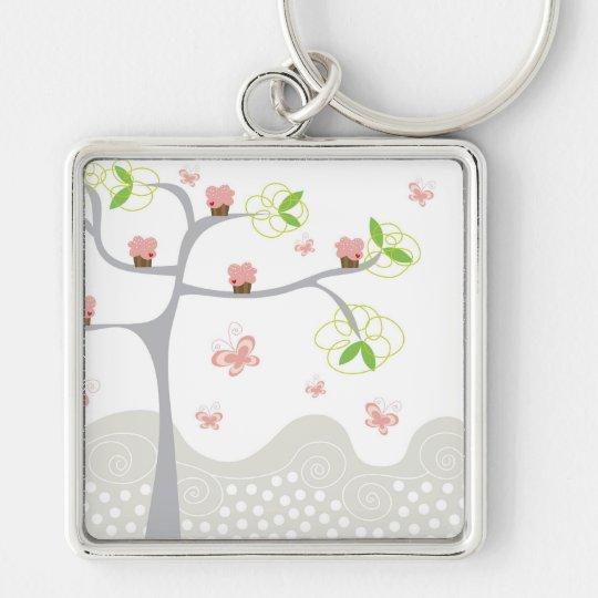 Whimsical Cupcakes Tree Butterflies Sweet Birthday Keychain