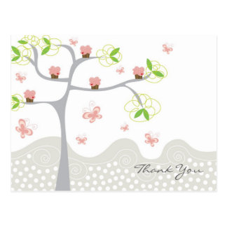 Whimsical Cupcakes Tree Butterflies Sweet Birthday Postcard
