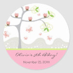 Whimsical Cupcakes Tree Butterflies Sweet Birthday Round Stickers