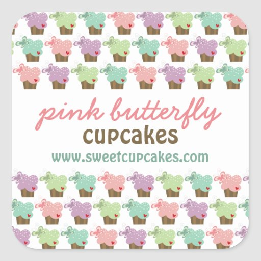 Whimsical Cupcakes Tree Butterflies Sweet Birthday Square Sticker