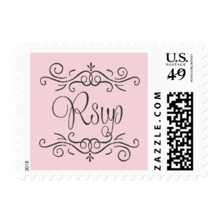 Whimsical curly rsvp on pink postage