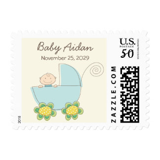 Whimsical Cute Blue Pram Boy Baby Shower Stamps