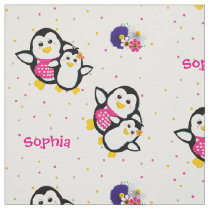 Whimsical Cute Cartoon Penguins Theme Personalized Fabric