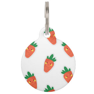 Whimsical cute chibi vegetable pattern pet ID tag