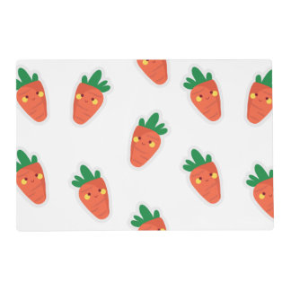 Whimsical cute chibi vegetable pattern placemat