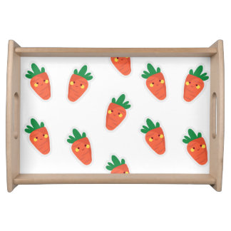 Whimsical Cute Chibi Vegetable Pattern Serving Tray