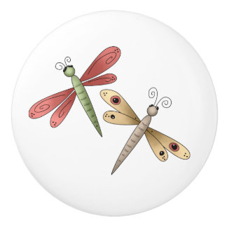 Whimsical Cute Dragonflies Drawer Knobs Ceramic Knob